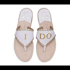 Jack Rogers I Do Sandal - White/Gold - size 8